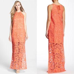 Trina Turk 'Pennie' Lace Gathered Neck Maxi Dress
